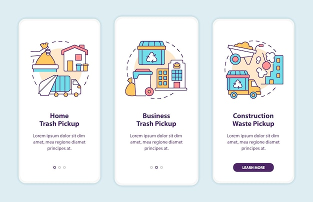 Waste collection and pickup onboarding mobile app page screen