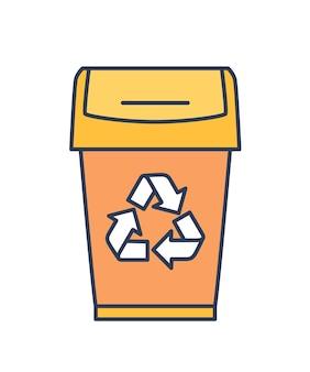 흰색 배경에 분리된 쓰레기통, 쓰레기통, 쓰레기 또는 쓰레기통. 재활용 기호가 있는 쓰레기 또는 쓰레기 수거용 빈. 현대 라인 아트 스타일의 다채로운 벡터 일러스트입니다.