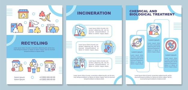 Waste disposal methods brochure template. garbage processing. flyer, booklet, leaflet print, cover design with linear icons. vector layouts for presentation, annual reports, advertisement pages