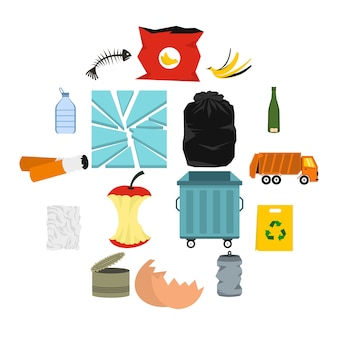 Waste and garbage icons set, flat style
