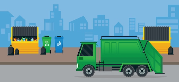 Waste or garbage truck and dumpster, management in city, urban background