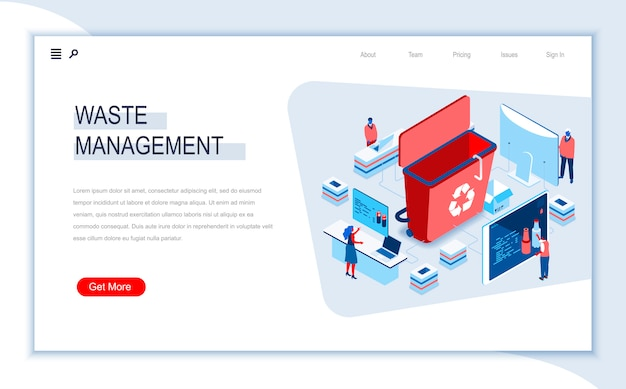 Waste management isometric landing page template.
