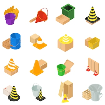 Waste material icon set