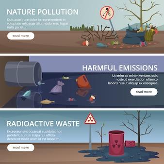 Пустая природа баннеры. токсичный мусор в реках и океанах загрязняет фабрику проблемами аэрофотоснимков