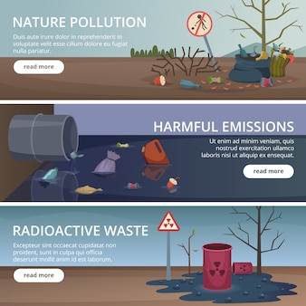 Waste nature banners. toxic trash in rivers and oceans pollution factory problems air pictures