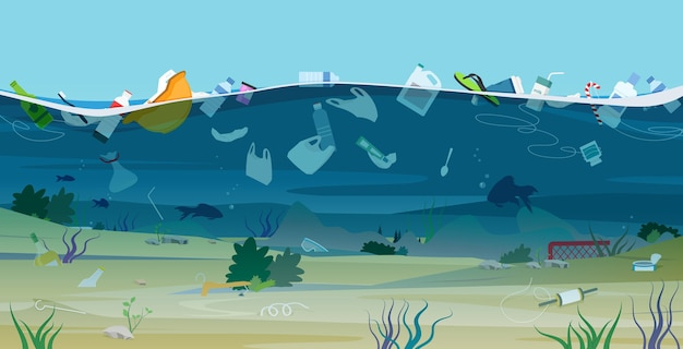 Waste and plastics that are harmful to the ecology dumped at sea