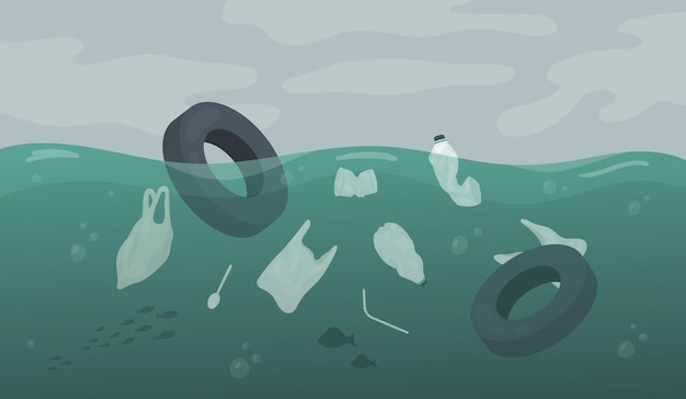 海や川の水に浮かぶ廃棄物汚染車のタイヤゴミビニール袋