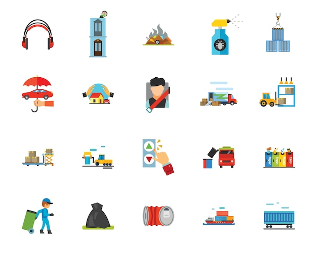 Waste and protection icon set