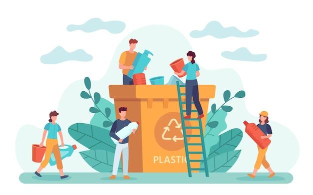 폐기물 재활용. 친환경적인 사람들은 쓰레기를 재활용 쓰레기통에 버립니다. 생태 생활 방식, 플라스틱 쓰레기 및 제로 폐기물 벡터. 일러스트레이션 폐기물 쓰레기, 쓰레기 재활용, 재활용 쓰레기 및 분류