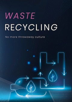 Waste recycling poster template vector environment technology