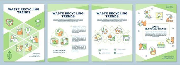 Waste recycling trends brochure template. waste management problem. flyer, booklet, leaflet print, cover design with linear icons. vector layouts for presentation, annual reports, advertisement pages