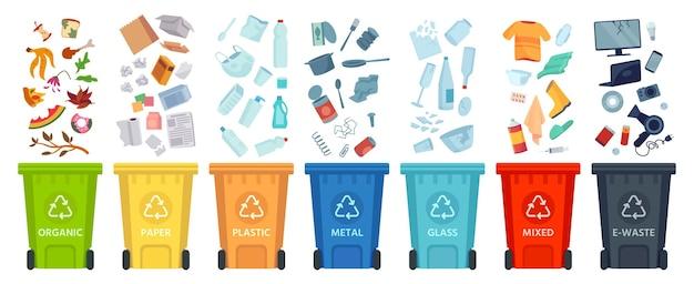 폐기물 분리. 색깔 있는 쓰레기통에 재료와 종류별로 쓰레기를 분류합니다. 쓰레기 벡터 인포그래픽을 분리하고 재활용합니다. 쓰레기와 쓰레기, 생태 쓰레기 재활용 그림