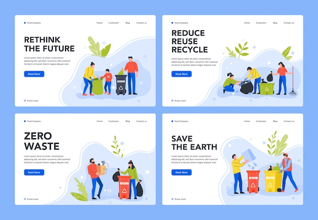 Waste separation and recycle. environment care, people sort garbage in containers for recycling to stop pollution and preservation of environment landing page template. rubbish sorting webpage