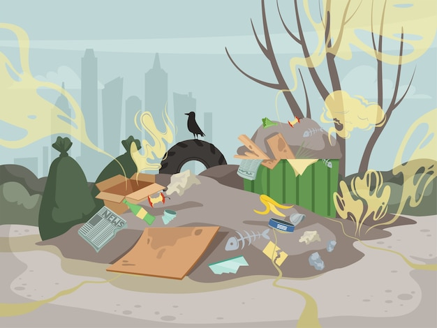 Waste smell. toxic junk mountain garbage bad environment dump smell clouds vector. illustration landfill dirty problem, industry chaos rubbish Premium Vector