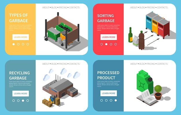 Waste sorting bins garbage collecting recycling processing info website template isolated