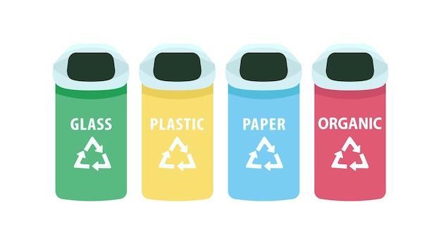 Набор плоских цветных объектов сортировки отходов. контейнеры для мусора. баки для переработки органических и пластиковых мусора изолированные мультфильм