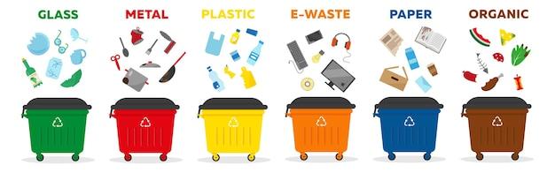 폐기물 분류 재활용 개념. 유리, 종이, 매트, 플라스틱, 전자 폐기물, 유기농 등 다양한 종류의 쓰레기 용 용기. 삽화.