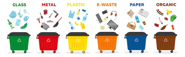 Waste sorting recycling concept. containers for garbage of different types: glass, paper, matal, plastic, e-waste, organic.    illustration.