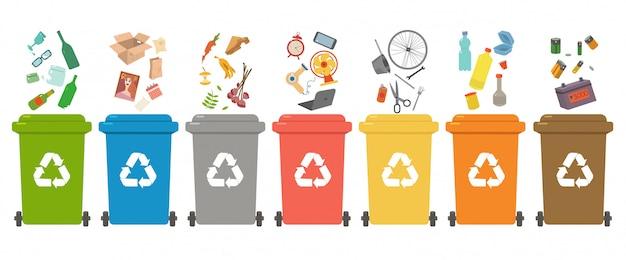 Сортировка отходов, сортировка отходов для переработки, сортировка мусора, мусорные баки. различные виды мусора: бумага, пластик, металлолом, стекло, органика, электронные отходы. современная плоская иллюстрация.