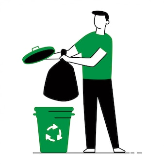 Waste sorting vector concept illustration of a man, trash bags and garbage can isolated.