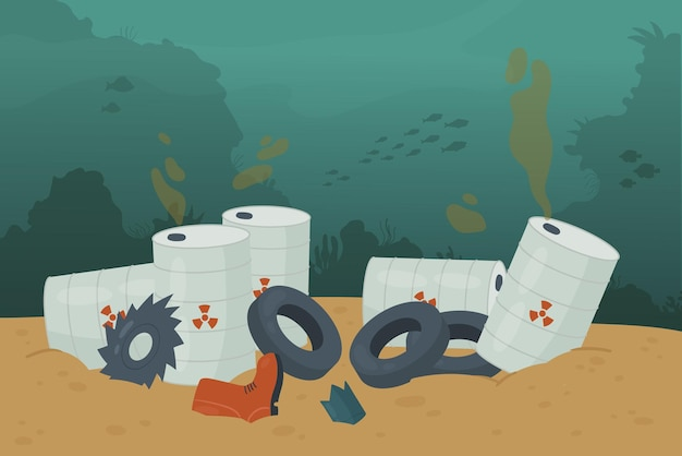 海の海水とごみ車のタイヤオイルタンカーの底の山の廃棄物ごみ汚染