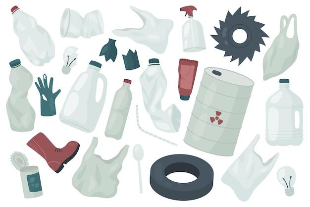 Отходы, мусор, мусор, окружающая среда, экология, загрязнение, набор, пластиковые перчатки, пакет, сумка, бутылка