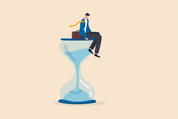待っている時間を無駄にし、新しいビジネスを決して始めない、タイムフライまたは効果のない思考または怠惰の概念、砂時計または砂時計を通過する時間に座っている落ち込んだビジネスマン。