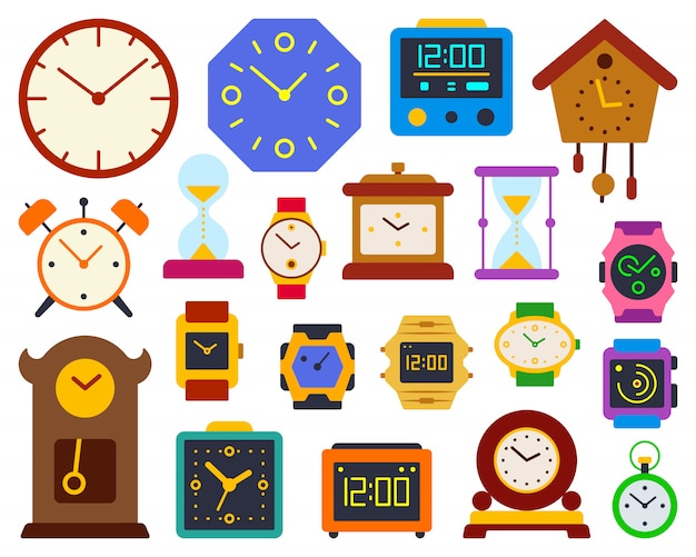 Watch alarm clock timer flat color set, includes stop watch, sand glass, hourglass, dial, timer.
