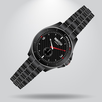 Watch automatic wristwatch with white background and shadow