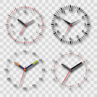 Watch dial on a transparent background with a shadow. set of four elements. vector illustration