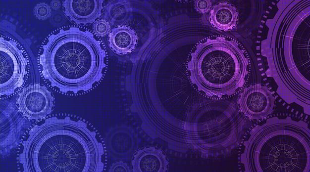 デジタルテクノロジーの歯車とコックと回路線の背景をご覧ください。