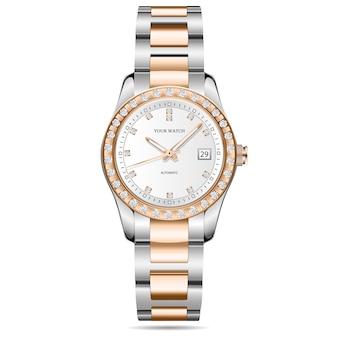 Watch gold silver diamonds design on white