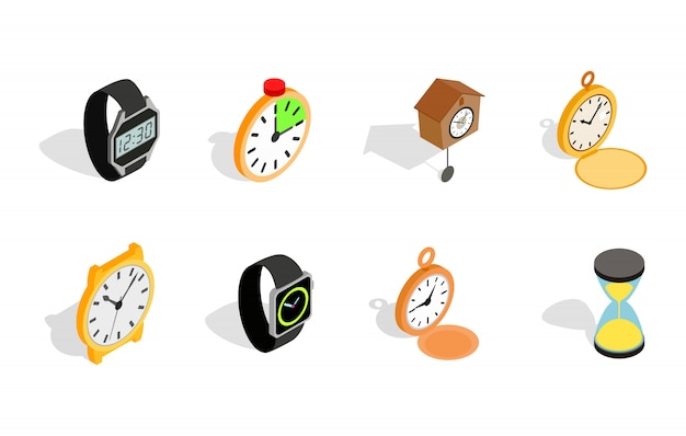 Watch icon set on white background