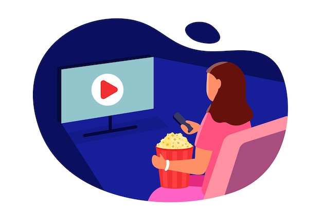 Watch movie girl with popcorn sitting in front of the screen tv and switches tv channels vector flat