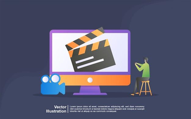 영화 일러스트 컨셉을보십시오. 스트리밍 비디오 및 영화, 홈 시네마 엔터테인먼트 웹 배너. 디지털 미디어 인터넷 텔레비전. 방문 페이지, 템플릿, ui, 웹, 모바일 앱, 배너에 사용할 수 있습니다.