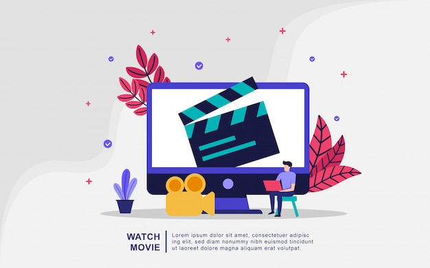 Watch movie illustration concept. streaming video and movies