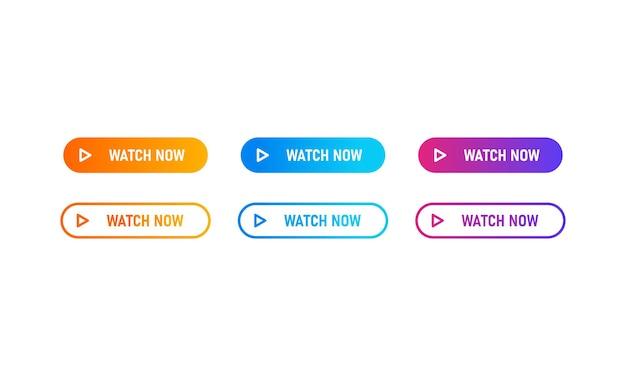 Смотрите сейчас набор иконок кнопок с красочным градиентом. смотреть сейчас - цветная плоская иконка. кнопка для веб-сайта, этикетки, баннера, наклейки, шаблона дизайна, значка и логотипа.