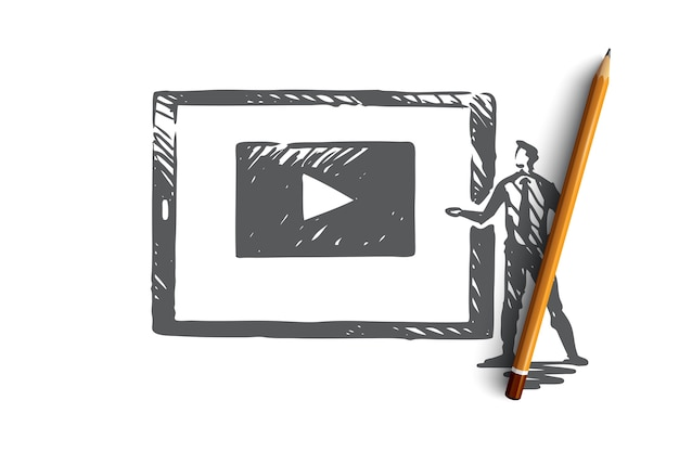 Watch our video, internet, play, media, web concept. hand drawn screen with playing video concept sketch.