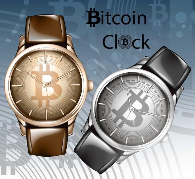 Watch realistic illustration. bitcoin wristwatch templates