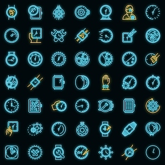 Watch repair icons set. outline set of watch repair vector icons neon color on black