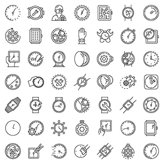 Watch repair icons set, outline style