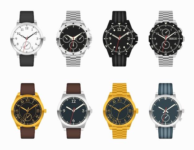 시계 세트. 가죽 및 금속 스트랩 일러스트와 함께 비싼 클래식 시계 무료 벡터
