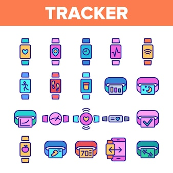 Watch tracker elements icons set