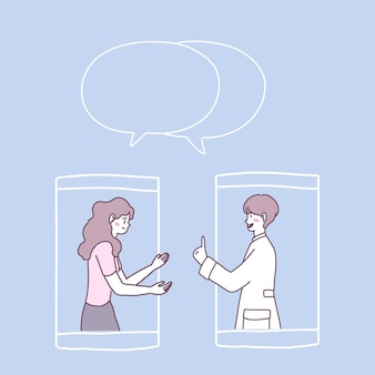 스마트 폰에서 영상 통화를 보거나 의사의 영상 통화를 할 수 있습니다.