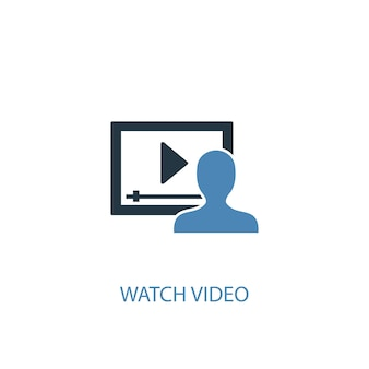 Watch video concept 2 colored icon. simple blue element illustration. watch video concept symbol design. can be used for web and mobile ui/ux
