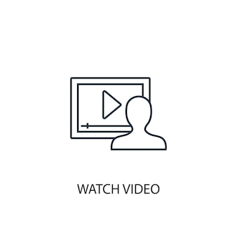 Watch video concept line icon. simple element illustration. watch video concept outline symbol design. can be used for web and mobile ui/ux