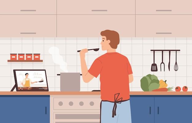 비디오 레시피 보기. 온라인 요리사 과정을 사용하여 부엌에서 요리하는 남자. 튜토리얼로 음식을 준비하고 가정 벡터 개념에서 원격 학습을 합니다. 태블릿에 가이드가 있는 캐릭터 요리 야채
