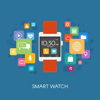 Watch with application icons vector illustration in flat style