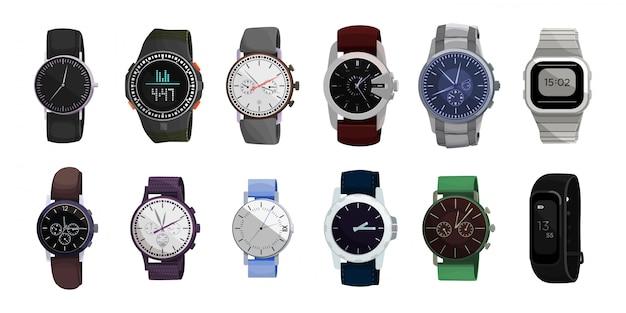 手首漫画セットアイコンを見る。孤立した漫画は、アイコンの腕時計を設定します。白い背景の上の図時計。