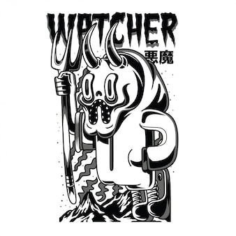 Watcher black and white illustration